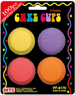 "100 PCS 3"" ASSORTED COLOR CAKE CUPS (24 PACKS) PF-8170"
