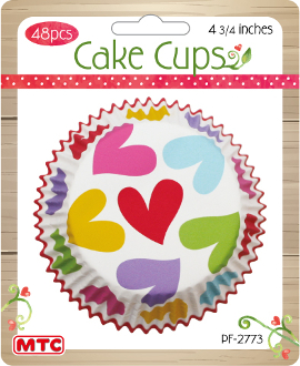 "48 PCS 4.75"" HEART CAKE CUPS (24 PACKS) PF-2773"