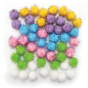 "50 PC 1"" TINSEL POM-POMS - PASTEL ASSORT (24 PACKS) PF-3386"