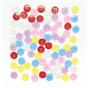"80 PC 0.6"" BUTTONS - ASST. COLORS (24 PACKS) PF-3341"