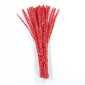 40 PC CHENILLE STEMS - WHITE/RED (24 PACKS) PF-3564