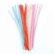 40 PC PEARLIZED CHENILLE STEMS - ASSRT COLORS (24 PACKS) PF-3498