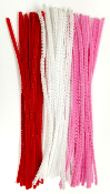 50 PC CHENILLE STEMS - RED/PINK/WHITE (24 PACKS) PF-3713
