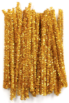 "80 PC 6"" TINSEL TWIST TIES - GOLD (24 PACKS) PF-3616"