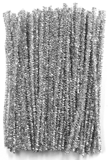 "80 PC 6"" TINSEL TWIST TIES - SILVER (24 PACKS) PF-3617"