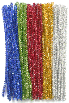 "80 PC 6"" TINSEL TWIST TIES - ASSORT COLORS (24 PACKS) PF-3621"