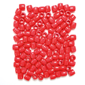 120 PC 10MM X 12MM PONY BEADS - RED (24 PACKS) PF-3675