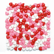 200 PC HEART BEADS - RED/PINK/WHITE (24 PACKS) PF-3717