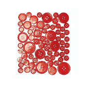 55 PC MIXED SIZES BUTTONS - RED (24 PACKS) PF-3481