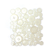 55 PC MIXED SIZES BUTTONS - WHITE (24 PACKS) PF-3482