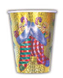 SALE! 6 PCS EMBOSSED 9 OZ CUPS -XMAS STOCKING(48 PACKS) PF-14891