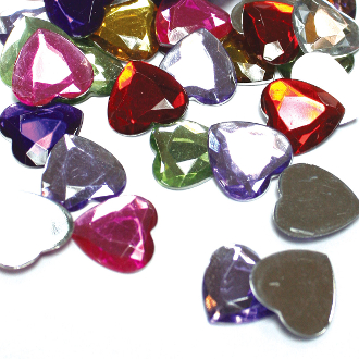 40 PC 16 MM HEART SHAPE RHINESTONES - ASSORT (24 PACKS) PF-3994
