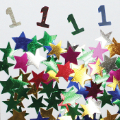 2/3 OZ. CONFETTI - #1 & STARS (24 PACKS) PF-3704