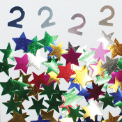 2/3 OZ. CONFETTI - #2 & STARS (24 PACKS) PF-3705