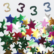 2/3 OZ. CONFETTI - #3 & STARS (24 PACKS) PF-3706