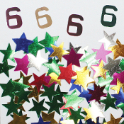 2/3 OZ. CONFETTI - #6 & STARS (24 PACKS) PF-3709