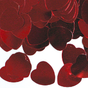 1 OZ. CONFETTI - LARGE RED HEARTS (24 PACKS) PF-3702
