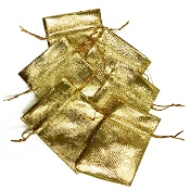 "6 PCS 2.75""W X 3.5""H METALLIC POUCH - GOLD (24 PACKS) PF-4028"