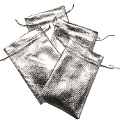 "4 PCS 3.75""W X 6""H METALLIC POUCH - SILVER (24 PACKS) PF-4031"