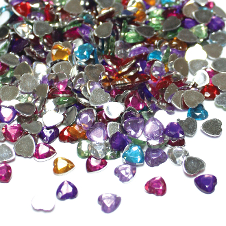 500 PC 6 MM HEART SHAPE RHINESTONES - ASSORT (24 PACKS) PF-3989