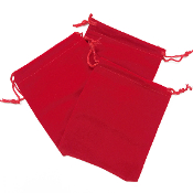 "3 PCS 3.75""W X 5""H VELVET POUCH - RED (24 PACKS) PF-4036"