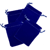 "4 PCS 2.75""W X 3.5""H VELVET POUCH - BLUE (24 PACKS) PF-4034"