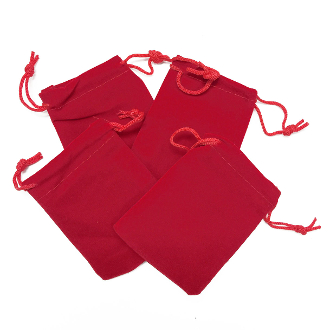 "4 PCS 2.75""W X 3.5""H VELVET POUCH - RED (24 PACKS) PF-4033"