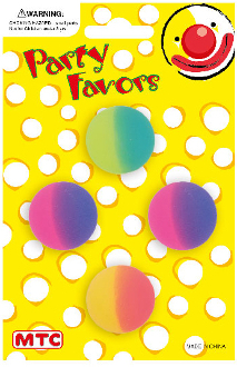 "4 PCS 1 1/8"" TWO TONE HI-BOUNCING BALLS (24 PCS) PF-1197"