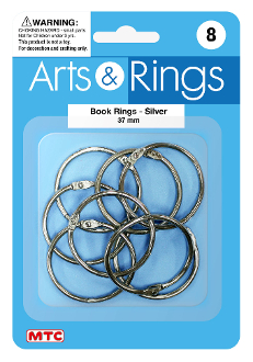 8 PC 3.7 CM BOOK RINGS (24 PACKS) PF-4025