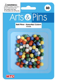 80 PC 10 MM BALL PUSH PINS - ASSORTED (24 PACKS) PF-4113