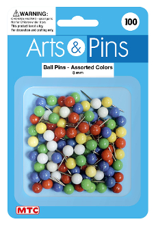 100 PC 8MM BALL PUSH PINS - ASSORTED (24 PACKS) PF-4198