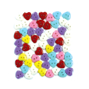 "60 PC 0.5"" HEART SHAPE BUTTONS - ASSORTED (24 PACKS) PF-4364"