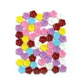 "60 PC 0.5"" FLOWER SHAPE BUTTONS - ASSORTED (24 PACKS) PF-4366"