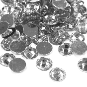 120 PC 12 MM ROUND RHINESTONES-SILVER (24 PACKS) PF-4170