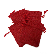 "4 PCS 2.75"" X 3.5"" BURLAP BAGS - RED (24 PACKS) PF-4297"