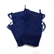 "4 PCS 2.75"" X 3.5"" BURLAP BAGS - BLUE (24 PACKS) PF-4298"
