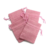"4 PCS 2.75"" X 3.5"" BURLAP BAGS - PINK (24 PACKS) PF-4300"