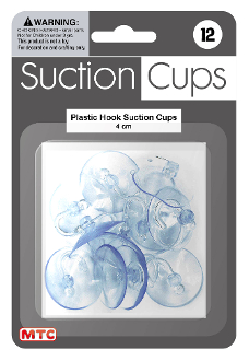 12 PC 4 CM PLASTIC HOOK SUCTION CUPS (24 PACKS) PF-4205