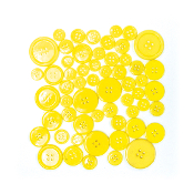 55 PC MIXED SIZES BUTTONS - YELLOW (24 PACKS) PF-3943