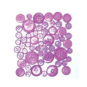55 PC MIXED SIZES BUTTONS - PURPLE (24 PACKS) PF-3944