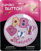 "4"" JUMBO BUTTON - BABY SHOWER PINK (24 PCS) PF-4493"