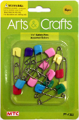 "15 PC 1.5"" SAFETY PINS - ASSORTED COLORS (24 PACKS) PF-4392"