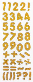 "1.25"" GLITTER NUMBER STICKERS-GOLD (24 PACKS) PF-4432"