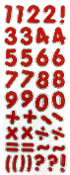 "1.25"" GLITTER NUMBER STICKERS-RED (24 PACKS) PF-4434"
