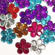 30 PC 25MM FLOWER RHINESTONES - ASSORTED (24 PACKS) PF-4515