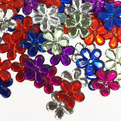 60 PC 21MM FLOWER RHINESTONES - ASSORTED (24 PACKS) PF-4514