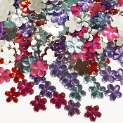 200 PC 12MM FLOWER RHINESTONES - ASSORTED (24 PACKS) PF-4512