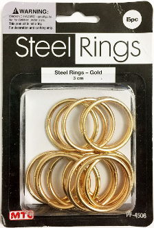 15 PC 3CM STEEL RINGS - GOLD (24 PACKS) PF-4506
