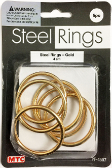 6 PC 4CM STEEL RINGS - GOLD (24 PACKS) PF-4507