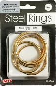 5 PC 5CM STEEL RINGS - GOLD (24 PACKS) PF-4508